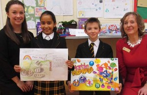 George Eardley Taylor and Nadia Fallouh, are pictured with their prize alongside teachers Julie Peters and Laura Rack