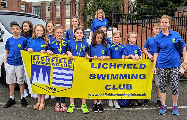 Members of Lichfield Swimming Club outside the council meeting