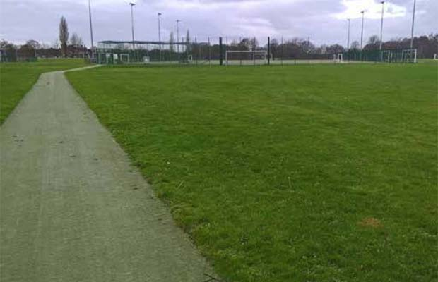 Some of the sports pitches at the former Joint Defence Medical Services site in Whittington