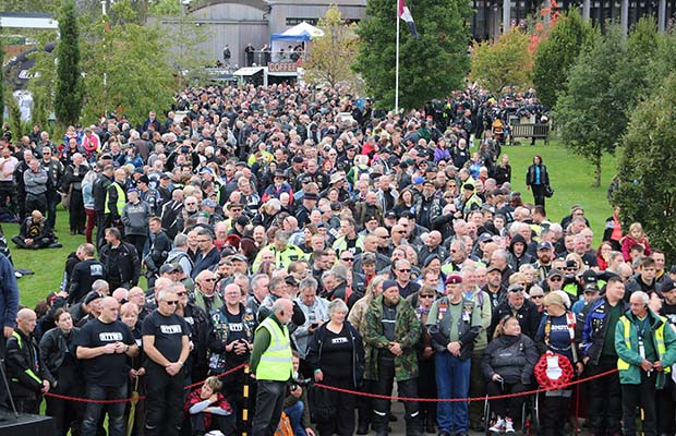Crowds at the Ride to the Wall Remembrance Service