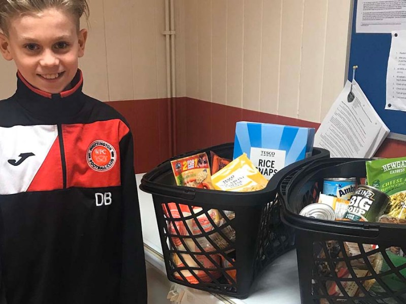 Duncan Brindley from Whittington Sharks Under 11s, among the 25 teams at Whittington FC who have been collecting for the appeal