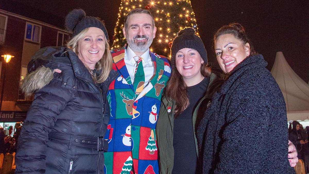 Charmaine Sweeney (Cameron Homes), Cllr Darren Ennis (Burntwood Town Council), Emma Graham (Cameron Homes) and Shelley Booth (The Bakery) at the Chasetown Christmas event