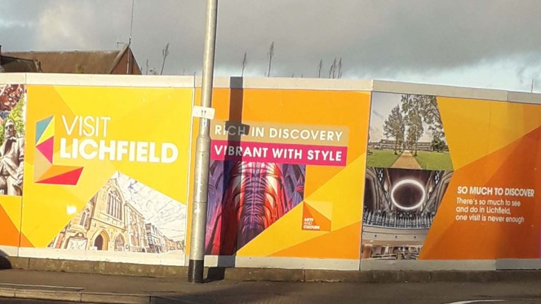 The new images over the hoardings at the former Friarsgate site