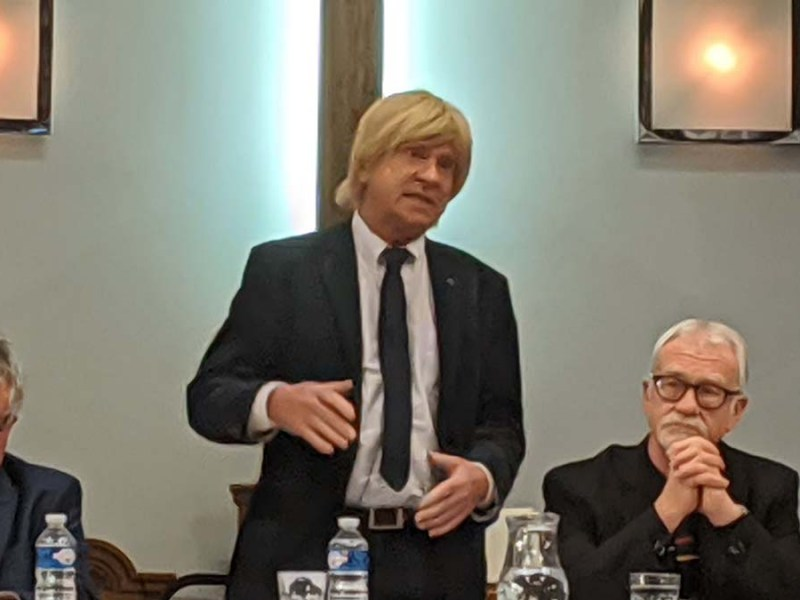 Michael Fabricant speaking at the hustings in Wade Street Church