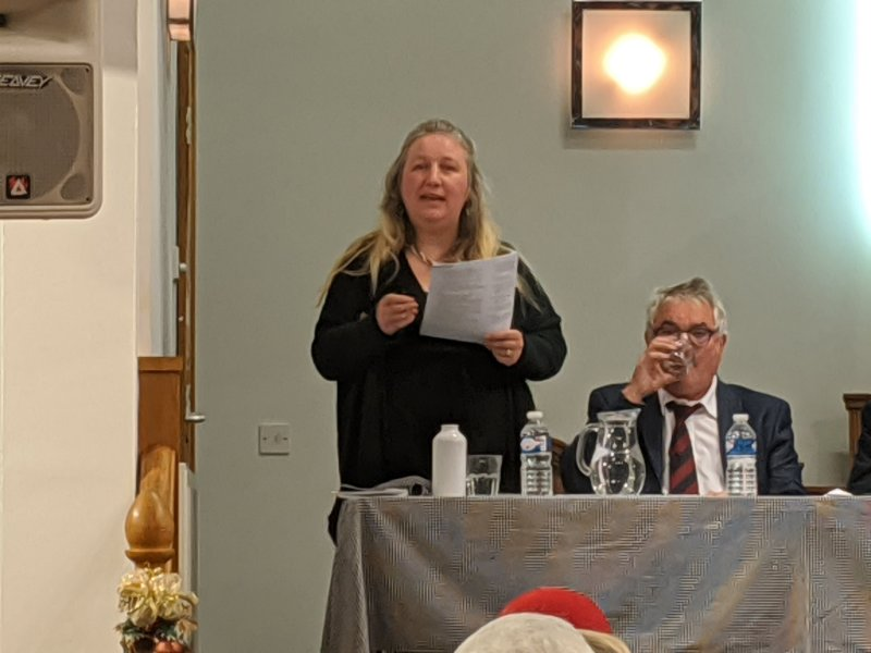 Andrea Muckley speaking at the hustings