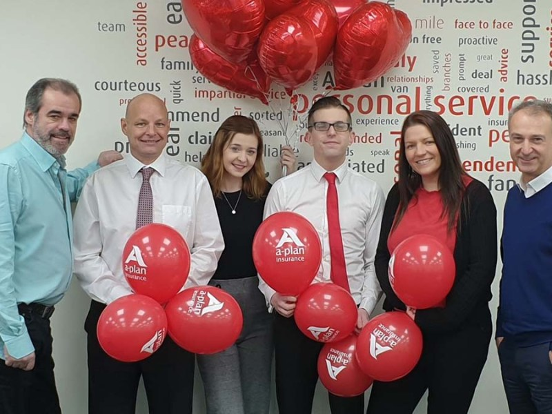 The A Plan insurance team with Simon Price (left) and Julian Fisher (right) from We Love Lichfield