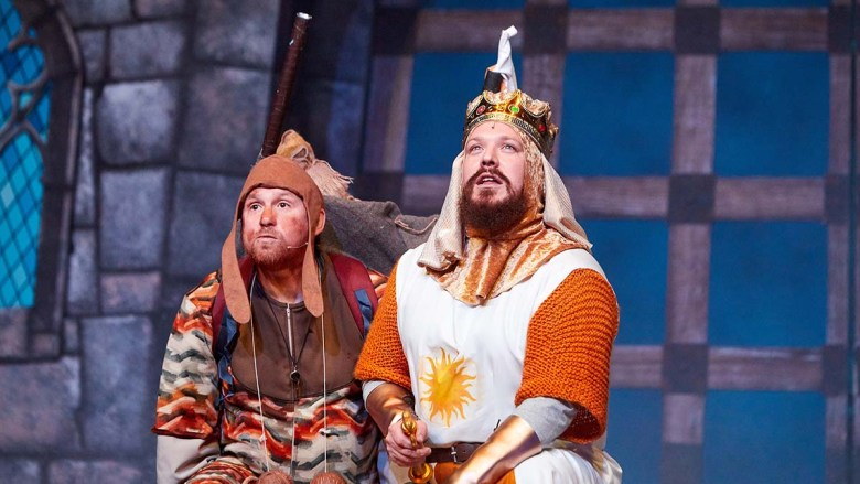 James Pugh as Patsy and Pete Beck as King Arthur