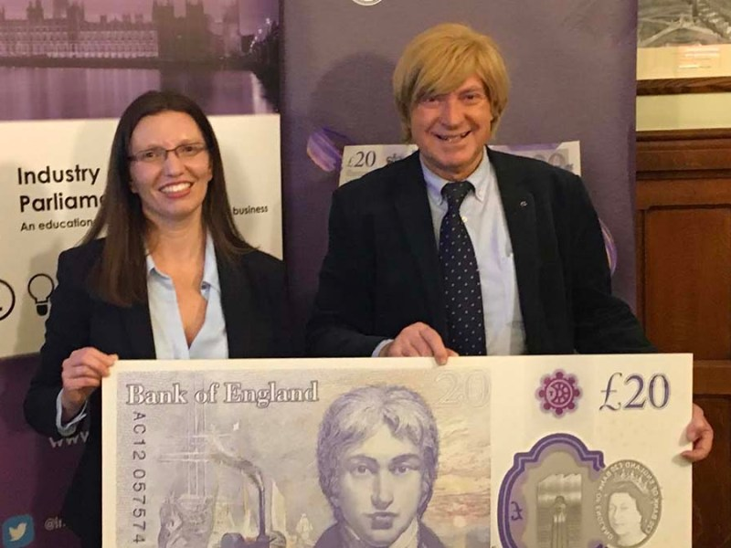 Michael Fabricant with Sarah John and a mock-up of the new £20 note