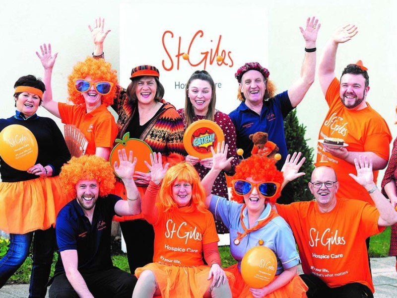 Preparations for Orange April at St Giles Hospice before the coronavirus restrictions