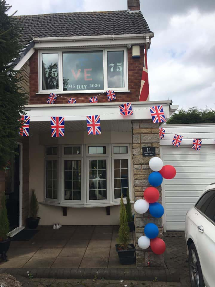 A house in Burntwood decorated for VE Day