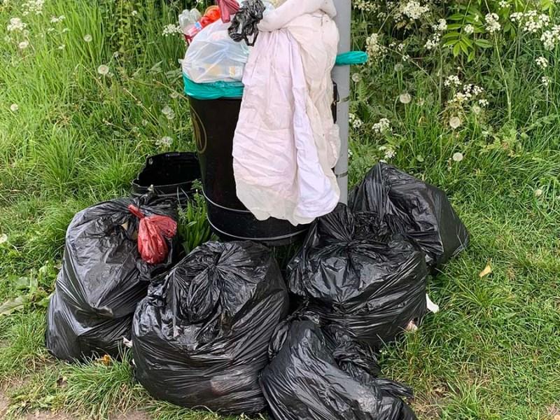 Rubbish dumped near a bin