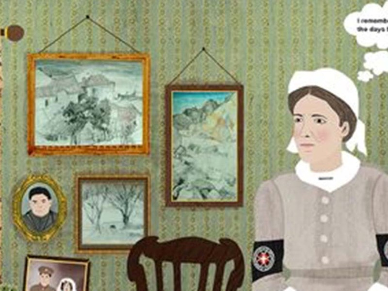 An illustration by Kremena Dimitrova from her previous exhibition Beyond War - Visualising Peace: Responding to the Armistice of 1918