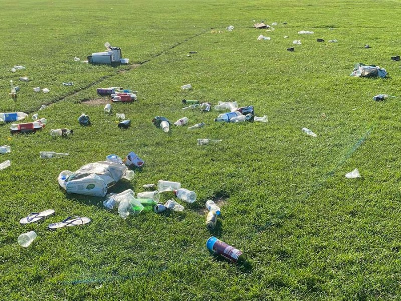 Rubbish left behind in Beacon Park