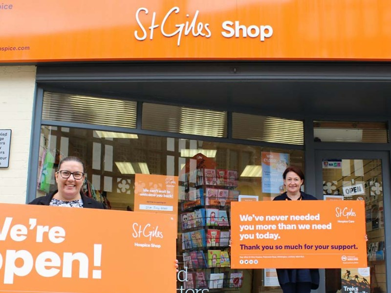 St Giles Hospice shops area manager Nicola Brannen-Mott and shop manager Vicky Jeffs outside the Tamworth Street store in Lichfield