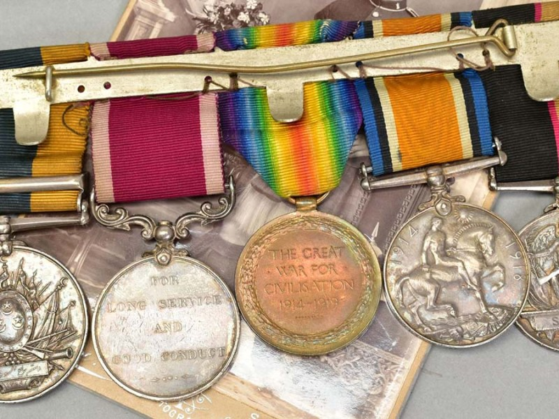 The medals being sold at auction