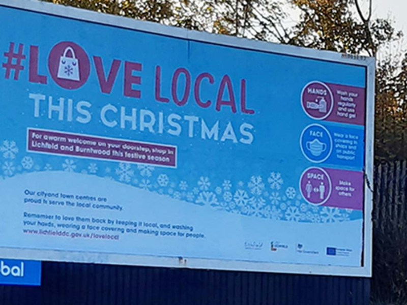 The #LoveLocal campaign being promoted on a billboard in Lichfield