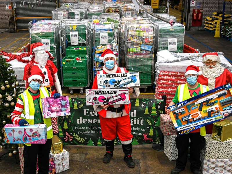 Central England Co-op staff with some of the donated toys