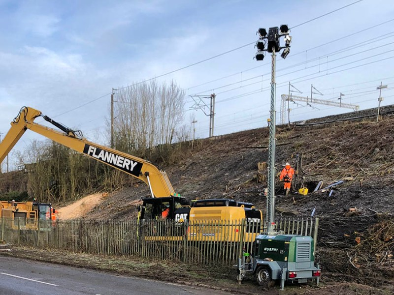 Network Rail engineers repairing the landslip on the West Coast Main Line