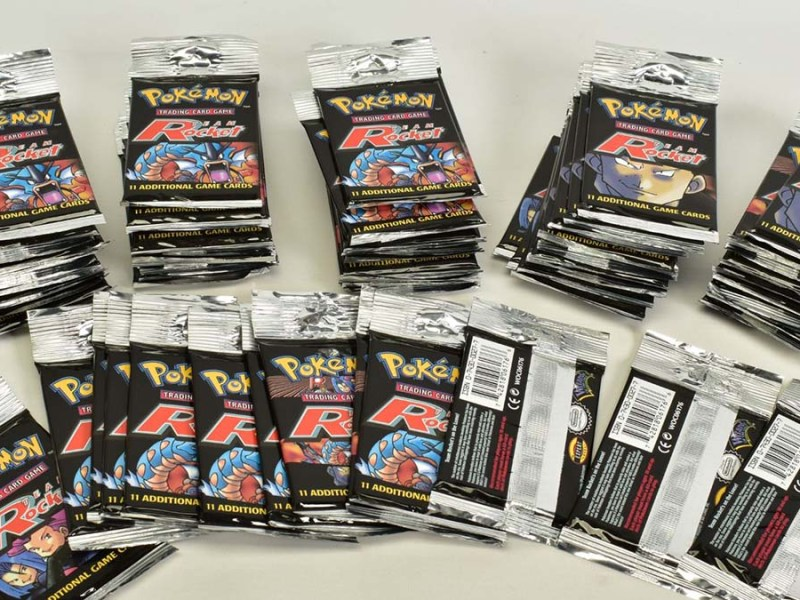 Some of the unopened Pokemon booster packs