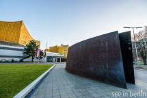 Modern art in front of the Berliner Philharmonie building