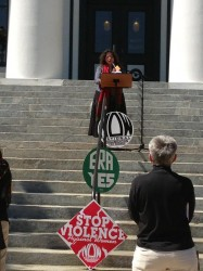 Licia reading from SOUL COMPOST at the capitol steps for International Women's Day 2013
