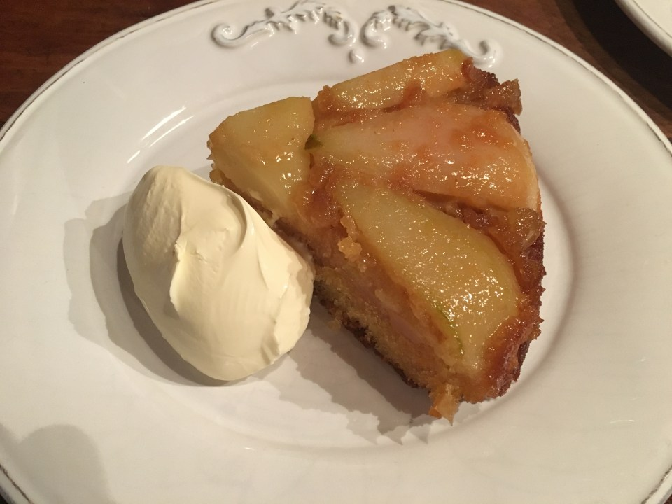 Slice of Pear and Ginger Cake with jersey cream