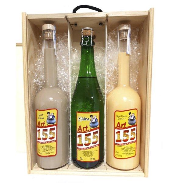 artículo 155 pack caja madera licor 3 unidades