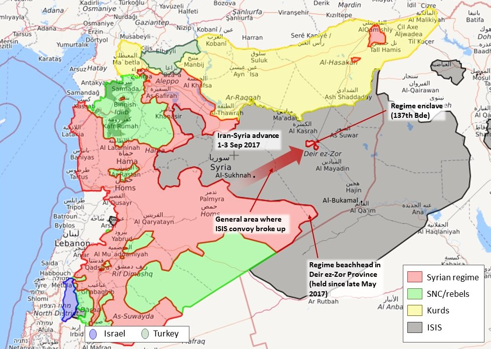 how iran has just shifted the deir ez zor situation from static to in play following the isis convoy transfer map credit syrialiveuamapcom