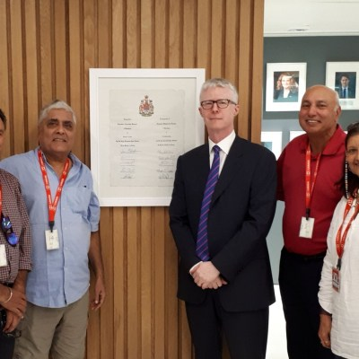 At Canadian Consulate in Chandigarh, India, with Consul General Christopher Gibbins, Herb Dhaliwal, Meghie Brar, & Mike Olak.