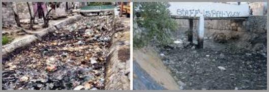 Lixo acumulado nos canais de Cité Soleil.