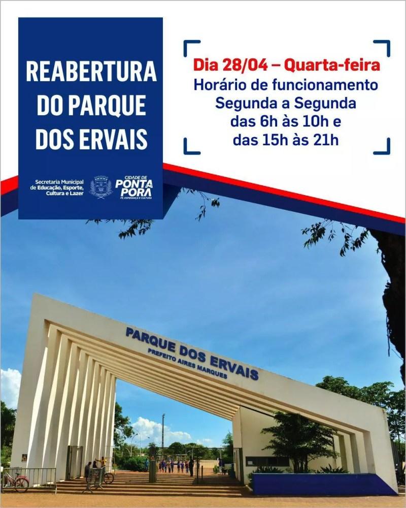 Parque dos Ervais será reaberto ao público nesta quarta-feira