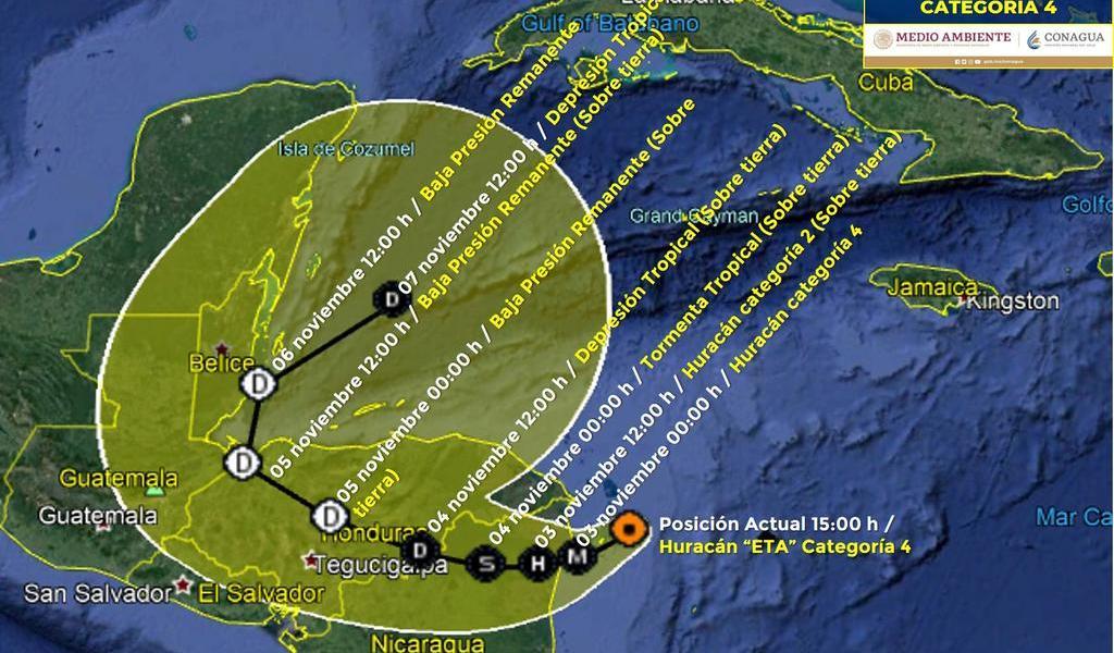 Se refuerza huracán 'Eta' a categoría 4 con dirección a Nicaragua