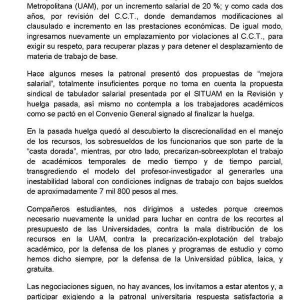SITUAM emplaza de nuevo a huelga para el 1 de febrero