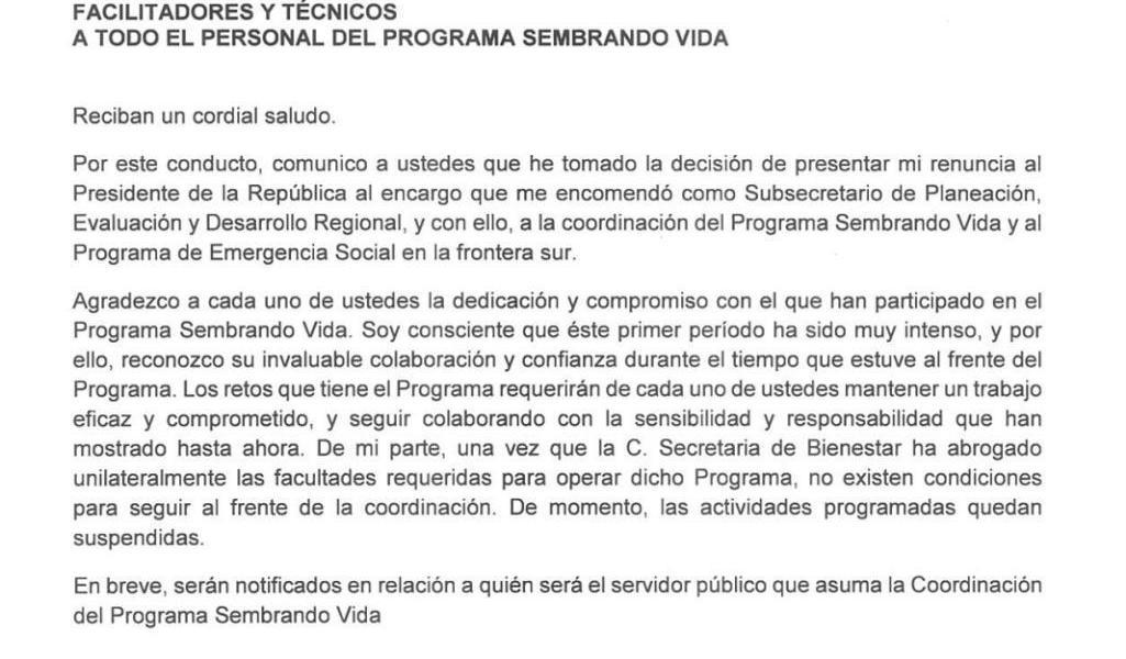 """Renuncia coordinador de Sembrando Vida; """"no hay condiciones para seguir"""""""