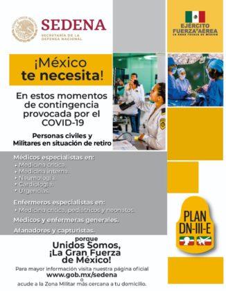 Sedena lanza convocatoria para trabajadores médicos y administrativos para atender COVID-19