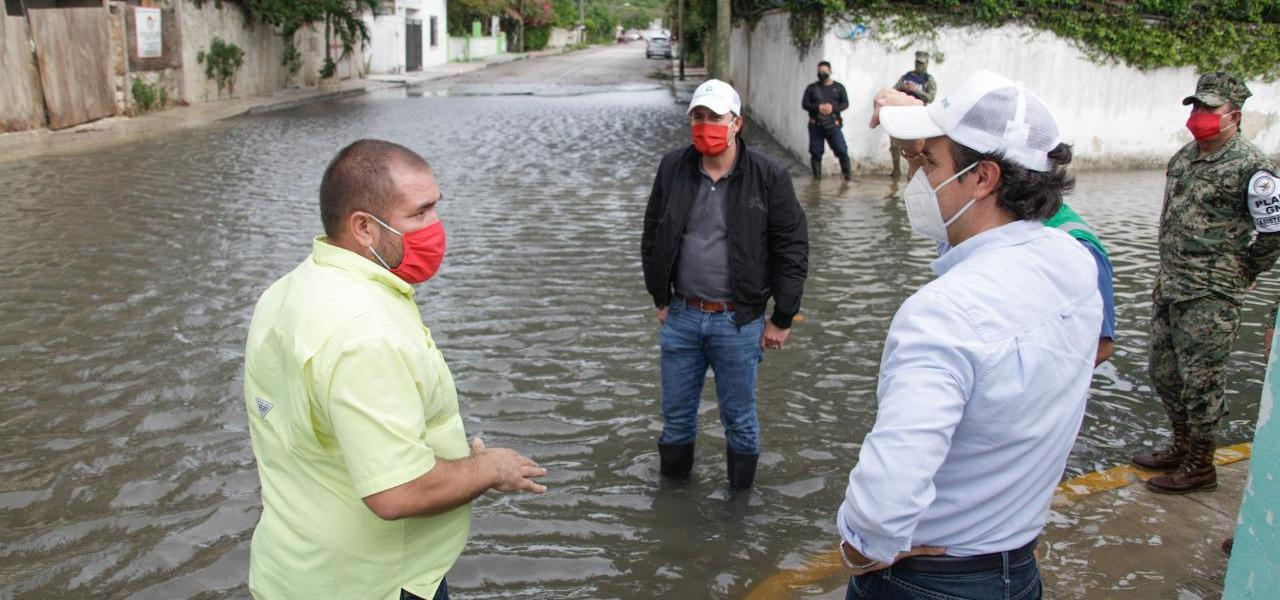 Ante la presencia de la tormenta tropical 'Cristóbal', supervisa Pedro Joaquín trabajos del 'Operativo Tormenta'