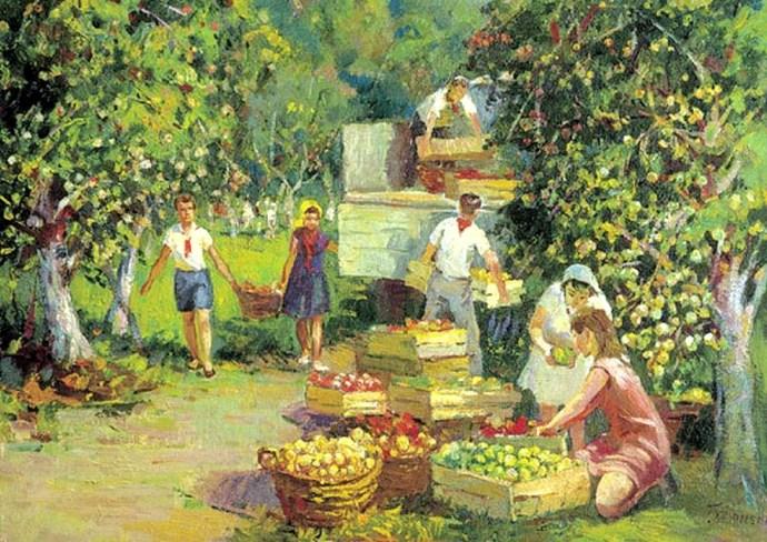 """Фрагмент картины Г. Хроменко """"Сбор яблок""""."""
