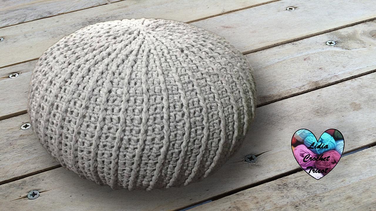 Pouf trapilho tendance tutoriel prsent par Lidia Crochet Tricot
