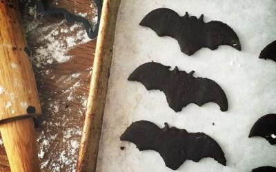 Celebrating Halloween with Double Chocolate Bat Cookies