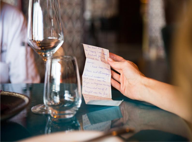 chef colins letter, ruya chef, ruya restaurant