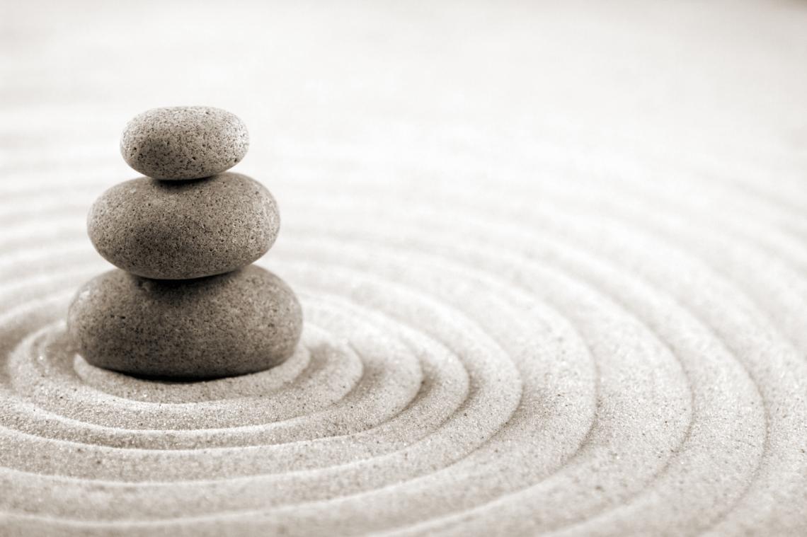 meditating zen garden