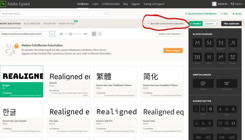 Wie finde ich ausschließlich für das Web optimierte Schriften?