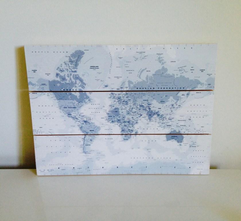 Weltkarte 30x40 auf Holzplatte gedruckt