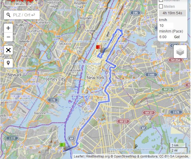 Streckenverlauf New York Marathon