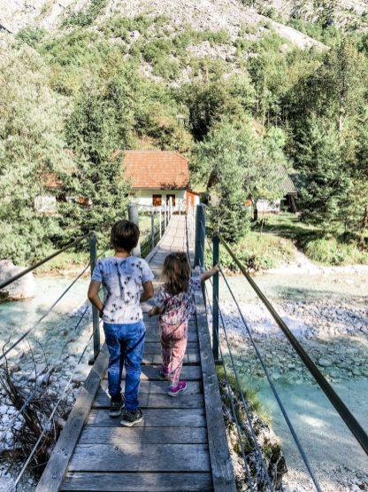 Hängebrücke über der Soca