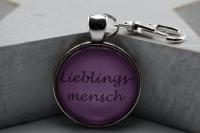 Schlsselanhnger Lieblingsmensch rosa, graue Schrift ...