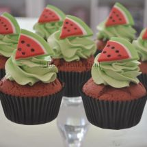 Red velvet watermeloen cupcakes