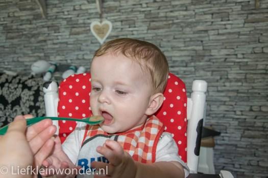 Jayden 6 maanden en 3 weken oud baby fruithapje peer banaan pompoen wortel