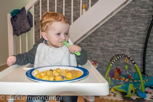 9 maanden en 3 weken oud eten met een vork