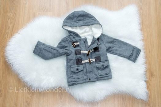 AliExpress babykleding - baby duffelcoat jas, grijs zacht teddy houtje touwtje